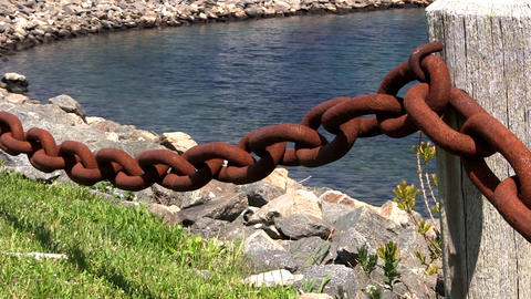 Rusty chain fence marina Cape Cod Footage