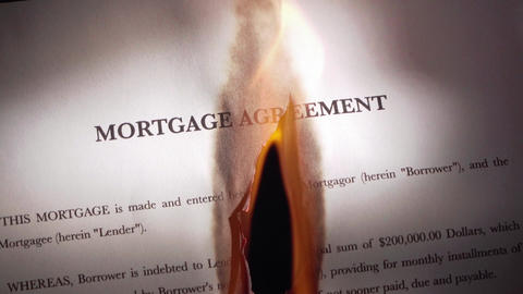 1 Mortgage Agreement Contract Burning On Fire In Slowmotion Footage