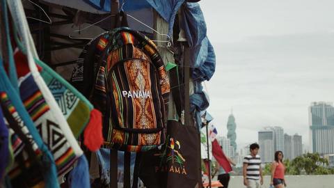 2 People Walking In Tourist Market Casco Antiguo Panama Footage