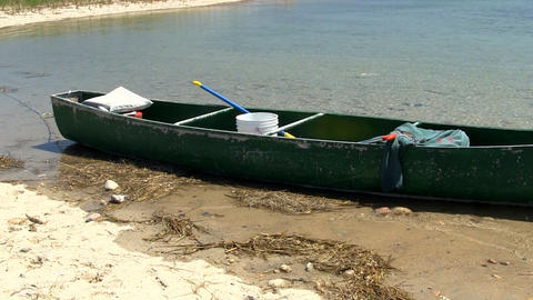Empty fishing canoe Footage