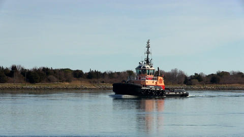 Cape cod canal tug boat Footage