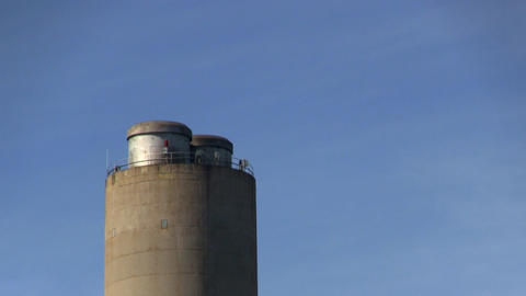 Power Plant Smoke Stack Zoom No Pollution stock footage