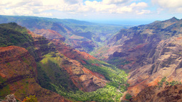 Pan of Waimea Canyon Hawaii Footage