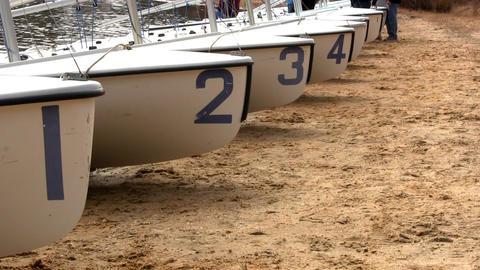 Sailboats 420 racing high school team Footage