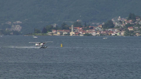 seaplane takeoff 11 e Stock Video Footage