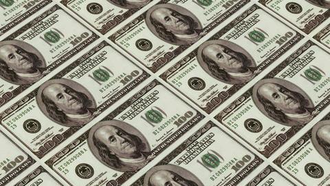 Printing Money Animation,100 dollar bills Stock Video Footage