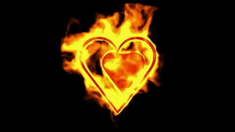 two burning hearts,valentine's day energy heart Stock Video Footage