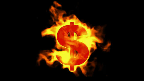 fire dollar symbol Stock Video Footage