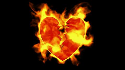 burning broken heart Stock Video Footage