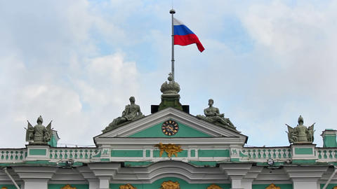 Flag on the roof of the Winter Palace Stock Video Footage