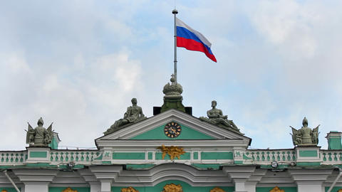 Flag On The Roof Of The Winter Palace stock footage