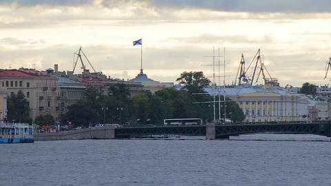 Palace Bridge and Admiralty Shipyard Stock Video Footage