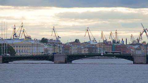 Palace Bridge and Admiralty Shipyard Footage