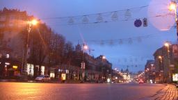 street dawn timelapse Kiev Kreschatik Footage