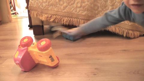boy crash toy 02 Stock Video Footage