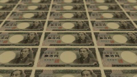 10000 japanese yen,Printing Money Animation Stock Video Footage