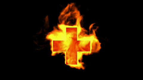 burning red cross sign,fire plus Stock Video Footage