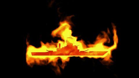 burning chaser and fire ship symbol Stock Video Footage