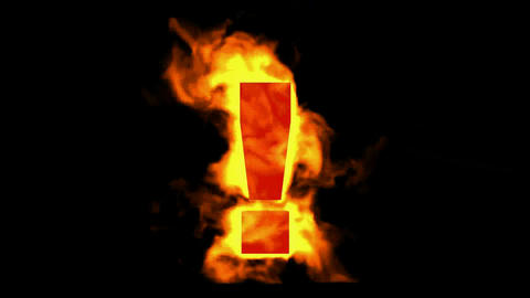 burning exclamation sign Stock Video Footage