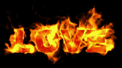 burning love word in flames Stock Video Footage