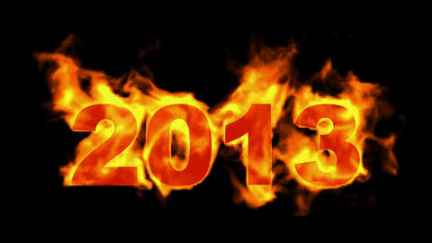 happy new year 2013,burning 2013 with fire on black... Stock Video Footage