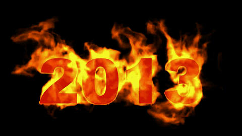 happy new year 2013,burning 2013 with fire on black background Animation