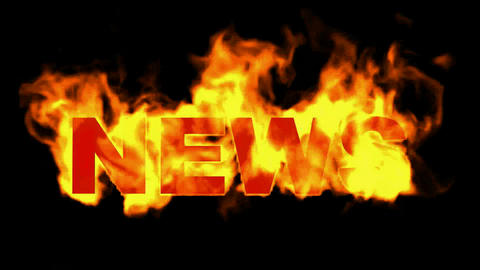 burning news word Animation