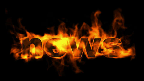 burning news text Stock Video Footage