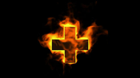 burning red cross sign,fire plus Animation