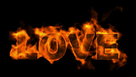 burning love text in fire Stock Video Footage
