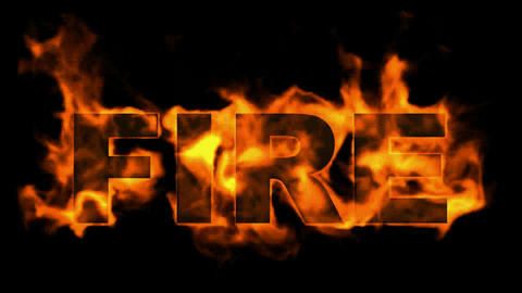 burning fire text Stock Video Footage