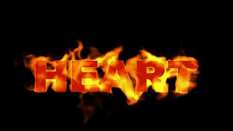 3D fire heart word Stock Video Footage