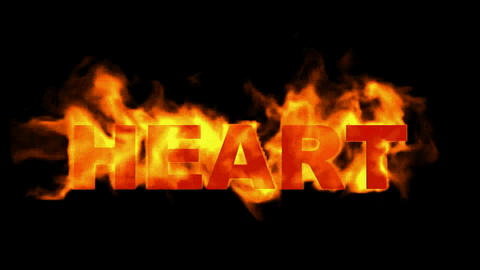 3D fire heart word Stock Video Footage
