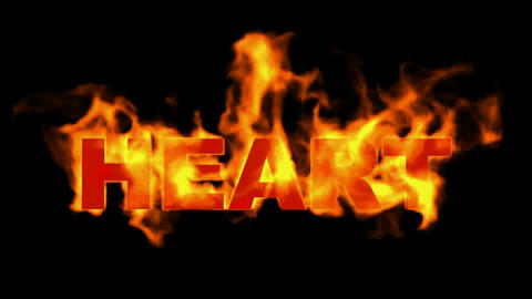 3D fire heart word Animation