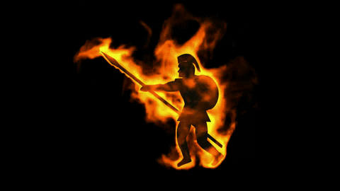 burning ancient soldier brandishing spear Animation