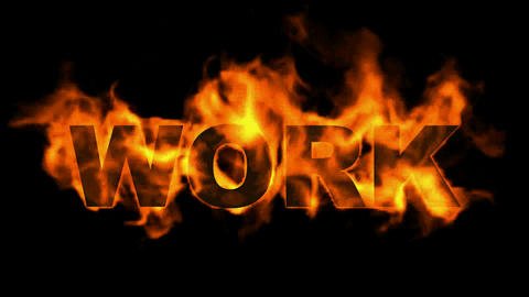 burning work text,business fire key word Animation
