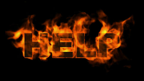 burning help word,fire text, Stock Animation