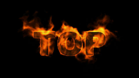 burning top text,fire word Stock Video Footage