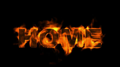burning home text Stock Video Footage