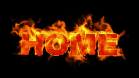 fire home word,burning text Stock Video Footage