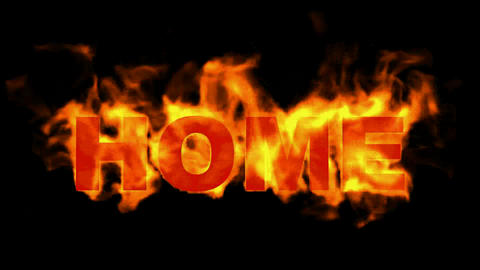 fire home word,burning text Animation