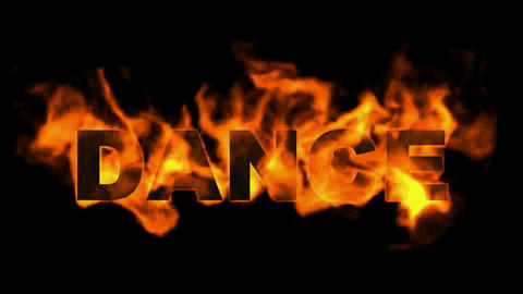 fire dance word,burn text Animation