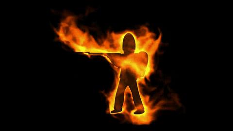 burning soldier with machine gun Stock Video Footage
