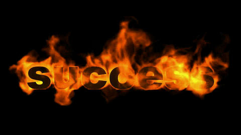 success fire text,burning business key word Animation