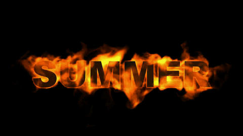 burning summer word,fire text Stock Video Footage