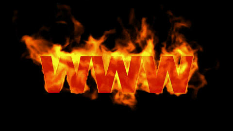 www,burning internet word,web text Stock Video Footage