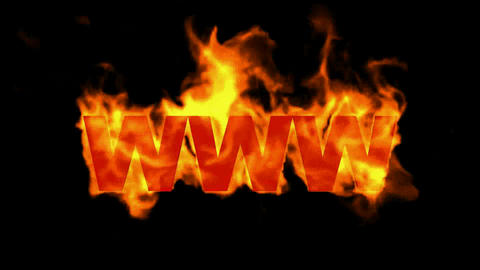 www,burning internet word,web text Animation