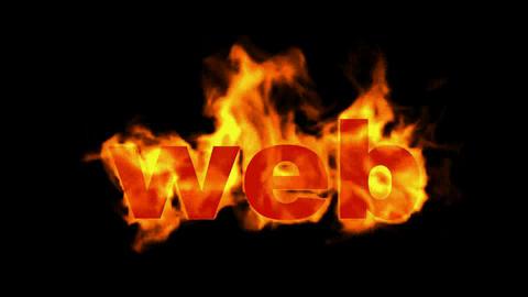 web,burning internet word Animation