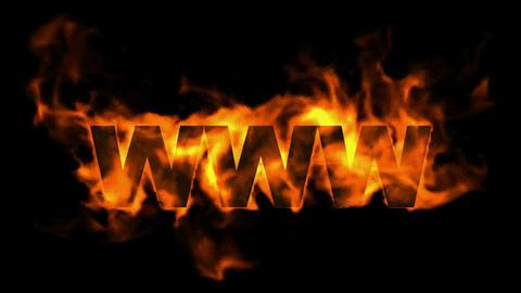 www,burning internet word,web text Stock Video Footage