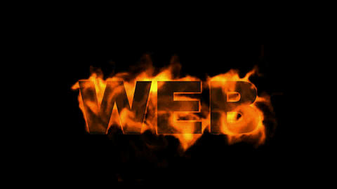 web,burning internet word Stock Video Footage